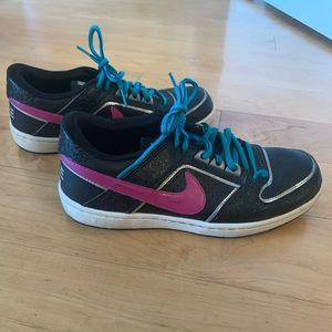 Black, Teal, Magenta Nike shoes